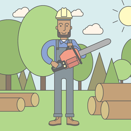 lumberman: An african-american lumber-man with a chainsaw on a forest background. Vector line design illustration. Square layout.