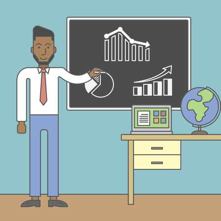 barchart: An african-american man painting on a chalkboard and globe and laptop on the table. Vector line design illustration. Square layout. Illustration
