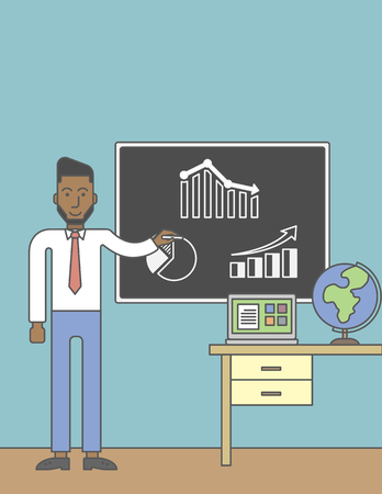 barchart: An african-american man painting on a chalkboard and globe and laptop on the table. Vector line design illustration. Vertical layout with a text space for a social media post.