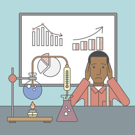 chemistry lab: An african-american man in despair sitting at the table with laboratory glassware and blackboard behind him. Vector line design illustration. Square layout.