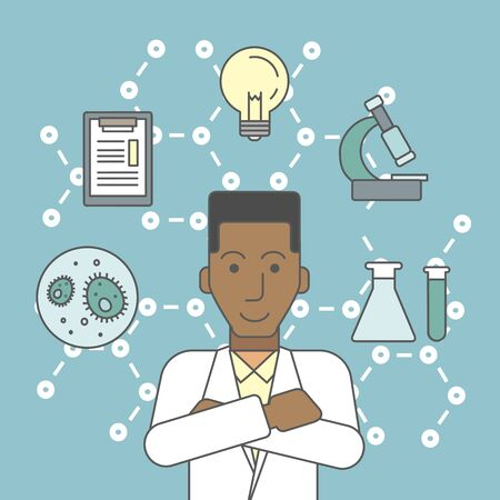 study: An african-american laboratory assistant with different icons around him symbolizing laboratory work on a background with molecular structure. Vector line design illustration. Square layout.