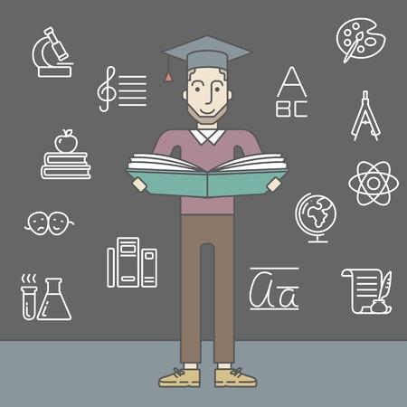 graduacion caricatura: Un hombre inconformista cauc�sico con barba en casquillo de la graduaci�n con un libro abierto sobre fondo gris pizarra. L�nea de la ilustraci�n del vector de dise�o. Dise�o Square. Vectores