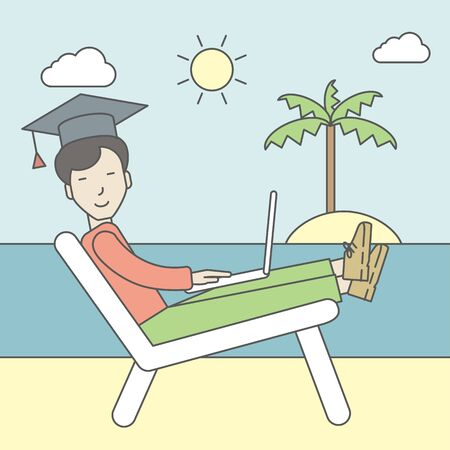 An asian man in graduation cap lying in chaise long on the seashore. Vector line design illustration. Square layout. Illustration