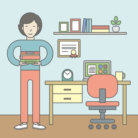 pupil: An asian pupil with books in the room with equipped working place. Vector line design illustration. Square layout.