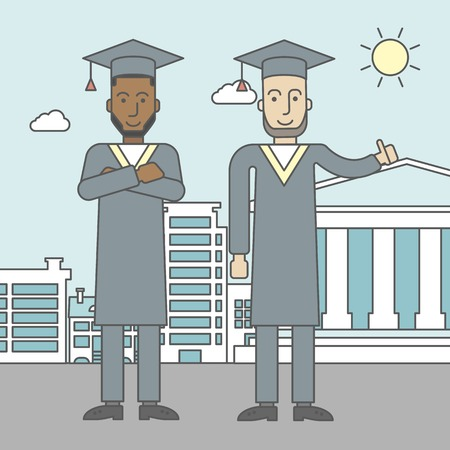 academy: Graduates in cloak and hat on a city background with academy building. Vector line design illustration. Square layout. Illustration