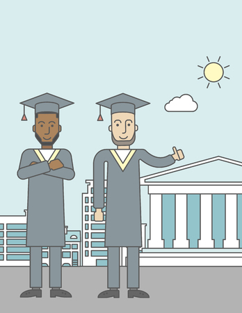 academy: Graduates in cloak and hat on a city background with academy building. Vector line design illustration. Vertical layout with a text space for a social media post.