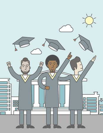 graduate asian: Happy graduates throwing up their hats on a city background with academy building. Vector line design illustration. Vertical layout with a text space for a social media post. Illustration