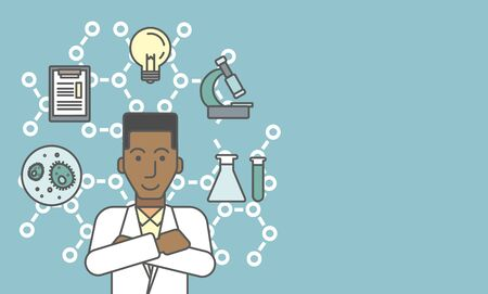 An african-american laboratory assistant with different icons around him symbolizing laboratory work on a background with molecular structure. Vector line design illustration. Horizontal layout with a text space for a social media post.