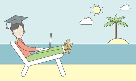 longue: An asian man in graduation cap lying on chaise longue on the seashore. Vector line design illustration. Horizontal layout with a text space for a social media post.