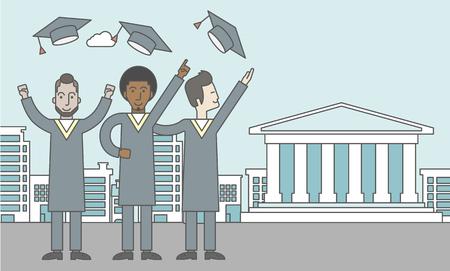 GRADUADO: Graduados felices que lanzan sus sombreros en un fondo de la ciudad con la construcción de la academia. Línea de la ilustración del vector de diseño. Diseño horizontal con un espacio de texto para un puesto de medios sociales.