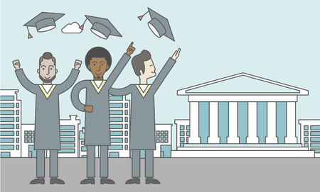 graduate asian: Happy graduates throwing up their hats on a city background with academy building. Vector line design illustration. Horizontal layout with a text space for a social media post.
