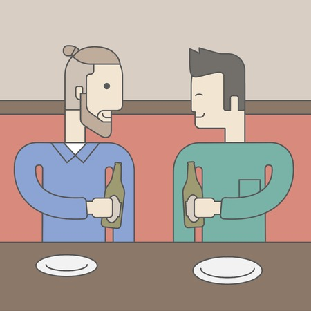 two friends talking: Two men sitting in the bar drinking beer with empty plates on the table. Vector line design illustration. Square layout.