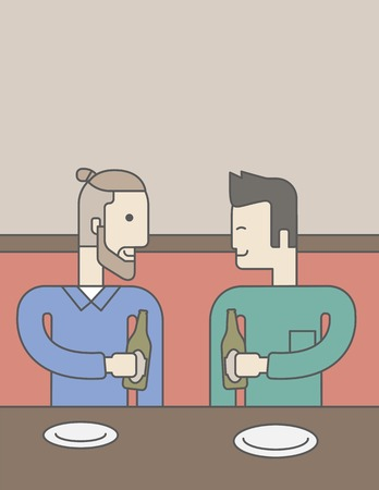 two friends talking: Two men sitting in the bar drinking beer with empty plates on the table. Vector line design illustration. Vertical layout with a text space for a social media post.
