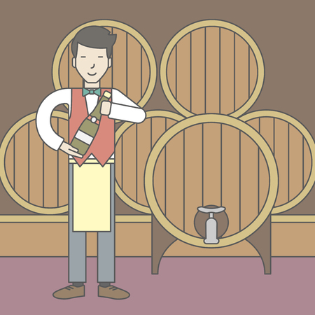 wine cellar: An asian waiter with a bottle of wine in wine cellar. Vector line design illustration. Square layout.