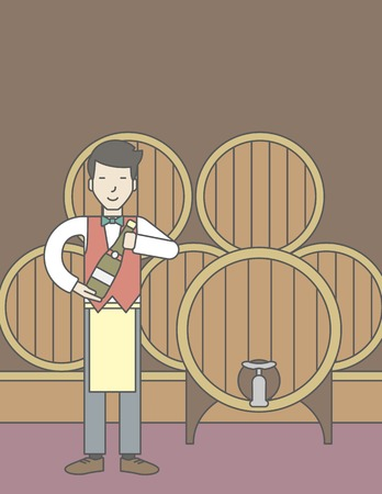 wine cellar: An asian waiter with a bottle of wine in wine cellar. Vector line design illustration. Vertical layout with a text space for a social media post.