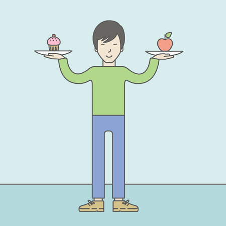 asian lifestyle: An asian man with apple and cake in hands symbolizing choice between healthy and unhealthy food. Vector line design illustration. Lifestyle concept. Square layout.