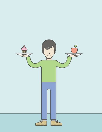 asian lifestyle: An asian man with apple and cake in hands symbolizing choice between healthy and unhealthy food. Vector line design illustration. Lifestyle concept. Vertical layout with a text space for a social media post. Illustration
