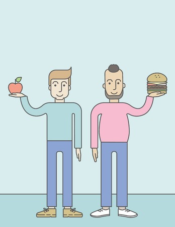 choise: Thick hipster man with beard standing with hamburger while slim caucasian man standing with apple, symbolizing choise between healthy and unhealthy food. Vector line design illustration. Lifestyle concept. Vertical layout with a text space for a social me Illustration