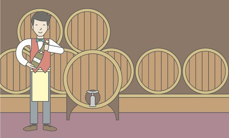 wine cellar: An asian waiter with a bottle of wine in wine cellar. Vector line design illustration. Horizontal layout with a text space for a social media post.