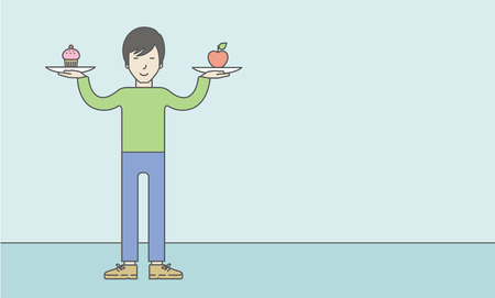 asian lifestyle: An asian man with apple and cake in hands symbolizing choice between healthy and unhealthy food. Vector line design illustration. Lifestyle concept. Horizontal layout with a text space for a social media post. Illustration