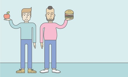standing in line: Thick hipster man with beard standing with hamburger while slim caucasian man standing with apple, symbolizing choise between healthy and unhealthy food. Vector line design illustration. Lifestyle concept. Horizontal layout with a text space for a social  Illustration