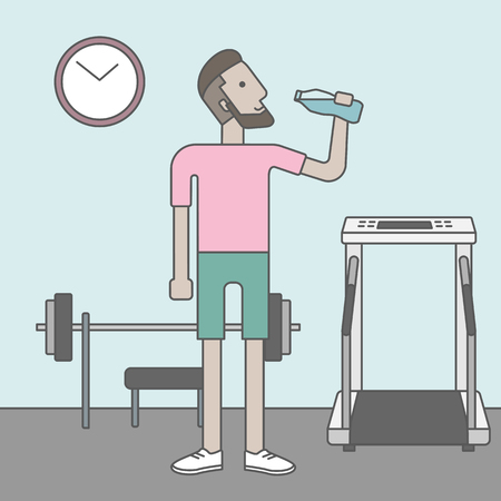drink cartoon: A caucasian hipster man drinking water in the gym. Vector line design illustration. Healthy, fitness concept.  Square layout.