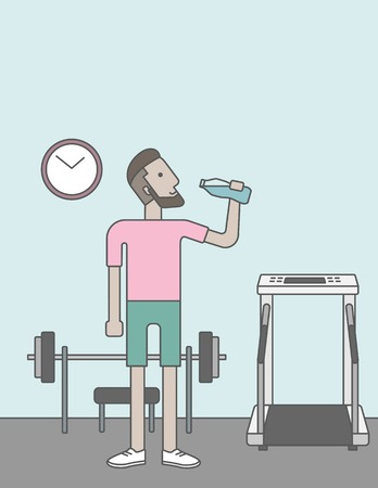 athlete cartoon: A caucasian hipster man drinking water in the gym. Vector line design illustration. Healthy, fitness concept.  Vertical layout with a text space for a social media post.