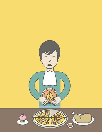 fire in the belly: An asian man standing near the table with food suffering from heartburn. Vector line design illustration. Vertical layout with a text space for a social media post.