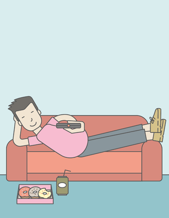 An asian man lying on a sofa holding a remote with three donuts on the plate and soda on the floor. Vector line design illustration. Vertical layout with a text space for a social media post. Illustration