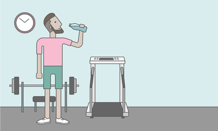 man drinking water: A caucasian hipster man drinking water in the gym, Vector line design illustration. Healthy, fitness concept. Horizontal layout with a text space for a social media post.