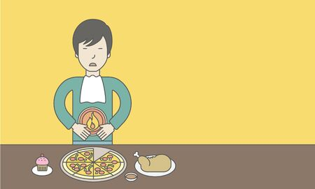 fire in the belly: An asian man standing near the table with food suffering from heartburn. Vector line design illustration. Horizontal layout with a text space for a social media post. Illustration