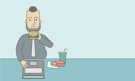 junk: A caucasian fat man with beard working on laptop at the table eating junk food. Vector line design illustration. Horizontal layout with a text space for a social media post. Illustration