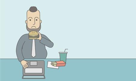 comida chatarra: Un hombre gordo con barba caucásico trabajando en equipo portátil en la mesa de comer comida chatarra. Línea de la ilustración del vector de diseño. Diseño horizontal con un espacio de texto para un puesto de medios sociales. Vectores