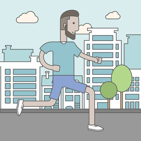 athlete cartoon: A caucasian hipster man with beard jogging on street. Vector line design illustration. Lifestyle concept. Square layout. Illustration