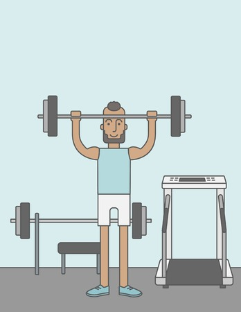 crossbar: A happy caucasian hipster man with beard lifts weights in the gym. Vector line design illustration. Sport concept. Vertical layout with a text space for a social media post. Illustration