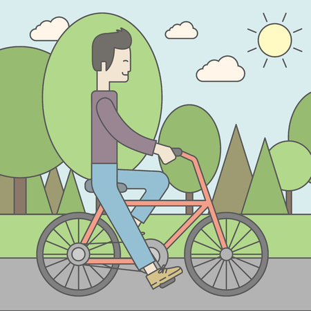 cartoon biker: An asian man riding a bicycle in park. Vector line design illustration. Sport concept. Square layout. Illustration