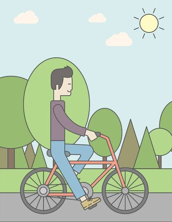 asian cartoon: An asian man riding a bicycle in park. Vector line design illustration. Sport concept. Vertical layout with a text space for a social media post.