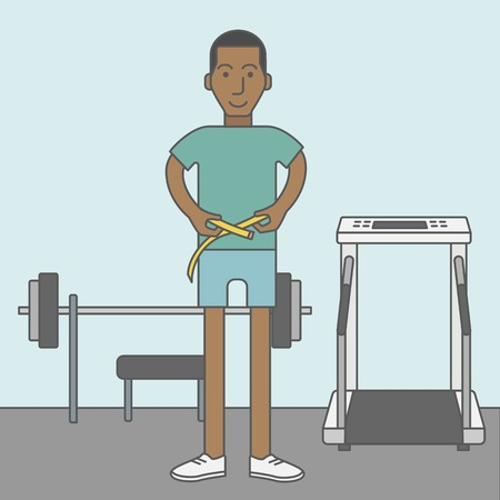 measures: A happy african-american man measures his waist. Vector line design illustration. Sport concept. Square layout.