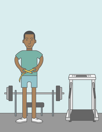 A happy african-american man measures his waist. Vector line design illustration. Sport concept. Vertical layout with a text space for a social media post.