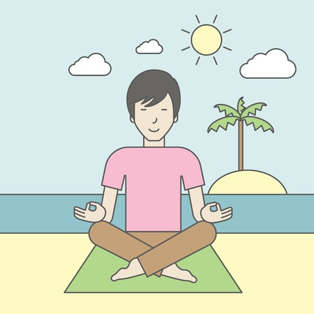 flexible: An asian man meditating in lotus pose on the beach. Vector line design illustration. Square layout.