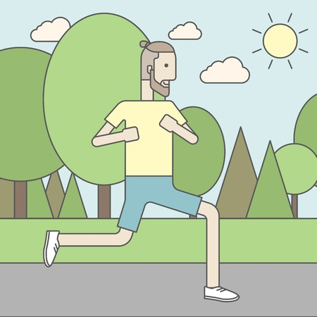 cartoon park: A caucasian hipster man with beard jogging in the park. Vector line design illustration. Square layout. Illustration