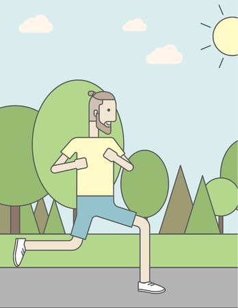 jogging in park: A caucasian hipster man with beard jogging in the park. Vector line design illustration. Vertical layout with a text space for a social media post.