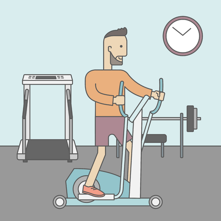 sport cartoon: A caucasian hipster man with beard exercising on a elliptical machine in the gym. Vector line design illustration. Square layout.