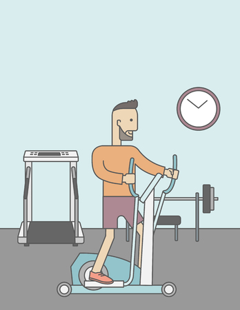athlete cartoon: A caucasian hipster man with beard exercising on a elliptical machine in the gym. Vector line design illustration. Vertical layout with a text space for a social media post.
