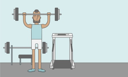 crossbar: A happy caucasian hipster man with beard lifts weights in the gym. Vector line design illustration. Sport concept. Horizontal layout with a text space for a social media post.