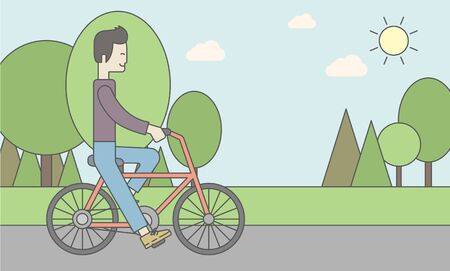 athlete cartoon: An asian man riding a bicycle in park. Vector line design illustration. Sport concept. Horizontal layout with a text space for a social media post. Illustration