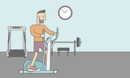elliptical: A caucasian hipster man with beard exercising on a elliptical machine in the gym. Vector line design illustration. Horizontal layout with a text space for a social media post. Illustration