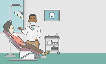 occupation cartoon: An african-american dentist man examines a patient teeth in the clinic. Vector line design illustration. Horizontal layout with a text space for a social media post.