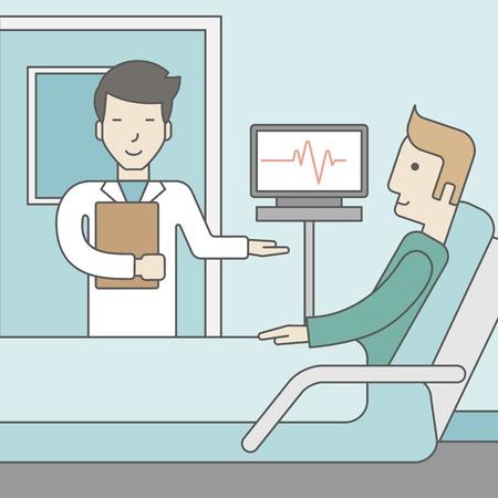 웃는 아시아 의사가 병원 병동에서 침대에 누워 백인 환자를 방문, 자신의 심장 박동을 나타내는 모니터 근처에 서있다. 벡터 라인 디자인 일러스트 레