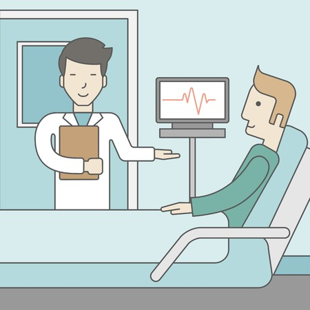 lying in bed: A smiling asian doctor visits a caucasian patient lying on bed in hospital ward, a monitor showing his heartbeat stands nearby.  Vector line design illustration. Square layout.